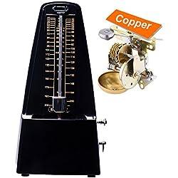 Rayzm metrónomo mecánico con alta precisión para toda clase de instrumentos (piano/batería/violín/ guitarra/bajo e instrumentos de viento). Chasquido audible y timbre de campana, estilo tradicional de pirámide.
