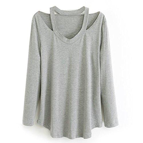 ZEARO Damen V-Ausschnitt Langarm-T-Shirt Weiß/Grau/Dunkelgrau/Schwarz S-L Grau