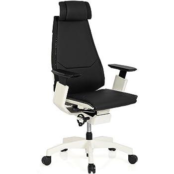 hjh office 652863 b rostuhl chefsessel genidia pro white leder schwarz bequemer b rodrehstuhl. Black Bedroom Furniture Sets. Home Design Ideas