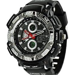 Denis Charm New Shock Sport Digital Rubber OHSEN Waterproof LCD Unisex Alarm Date Mens Military Watch - White