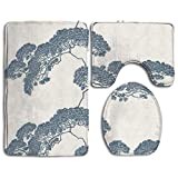 cleaer Bonsai Tree Japanese Durable Bathroom Rugs Set Dotted Non-Slip Bottom Toilet Mat Set Large Lid Toilet Cover and Bath Mat