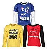 #5: Goodway Boy's Cotton Full Sleeve Mom and Dad Theme T-Shirts - Pack of 3