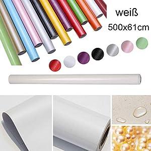HDM 5M * 61 CM (L*B) dicke PVC Weiß Klebefolie -Wasserabweisend selbstklebend DIY Dekofolie Möbel Renovierung Küchenschränke Möbelfolie Tapeten, Weiß mit glitzerpartikel auf Oberfläche