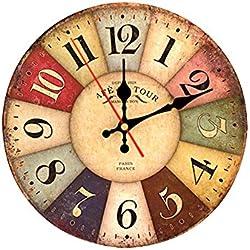 Decdeal - Reloj de Cuarzo decPared de Madera, Vintage, Diámetro de 30cm