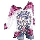 Yvelands Damen Oversize Bluse Shirt Große Größen Vintage Locker V-Ausschnitt Shirts Top Schulterfrei Spitze Kurzarm Tunika