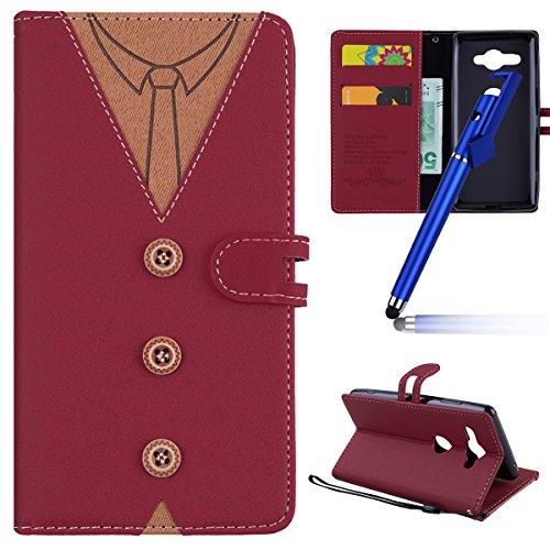MoreChioce kompatibel mit Sony Xperia XZ2 Compact Hülle,kompatibel mit Sony Xperia XZ2 Compact Leder Flip Case, Fashion Rote Nähen Krawatte Stoff Schutzhülle Klapptasche Magnetverschluß,EINWEG