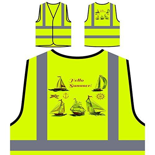 Hallo Sommer Schiffskapitän Neuheit Lustig Personalisierte High Visibility Gelbe Sicherheitsjacke Weste a824v
