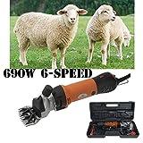 Vinteky 690W Tondeuse Mouton Animal électrique Professionnelle/Cheveux Tondeuse Electrique à Mouton + 6 Vitesses Ajustable (Orange)