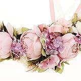 SunniMix Hochwertige Simulationsseide Pfingstrosen Blumen Tür Kranz Ordnungs Girlanden Hochzeitsfest Blumen Anordnung - Rose - 2