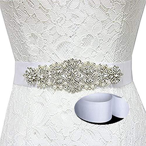 shinyshine weiß Braut Schärpe Kristall Braut Schärpe Gürtel Damen Braut Schärpe Hochzeit Braut Schärpe 18x5cm(7x1.96inch) weiß -