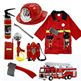 Fireman Fire Chief Role Play Toys Suit 9 Pcs With Fireman Hat Fireman Clothes Water Gun Fire Truck for Kids Gifts - SZSY - amazon.co.uk