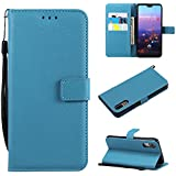 Codream, Huawei P20 Case Wallet Leather, Huawei P20 Case With Card Holder And Kickstand, Huawei P20 Wallet Case With Backcover, Backcover Case Case Compatible With Huawei P20 Sky-Blue