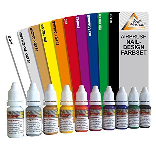 10er Set AIRBRUSH FARBEN für AIRBRUSH NAILDESIGN - Airbrushfarbe für die Nägel, bedingt auch geeignet für Airbrush Tattoo, Airbrush im Modellbau - AIRBRUSH FARBEN WASSERVERDÜNNBAR -