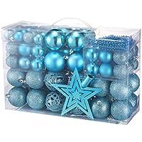 Yorbay Boules de Noël Set pour Sapin de Noël dans différentes Couleurs (Bleu Glace- modèle 2018)