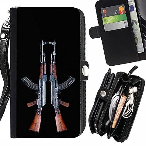 Graphic4You AK47 AK-47 Maschinengewehr Sturmgewehr Design Zipper Brieftasche mit Strap Hülle Tasche Schale Schutzhülle für HTC One A9s