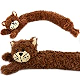 The Magic Toy Shop novità Cane Gatto Design Morbido Micro Pile Draught paraspifferi per Porte e Cuscino Brown Cat