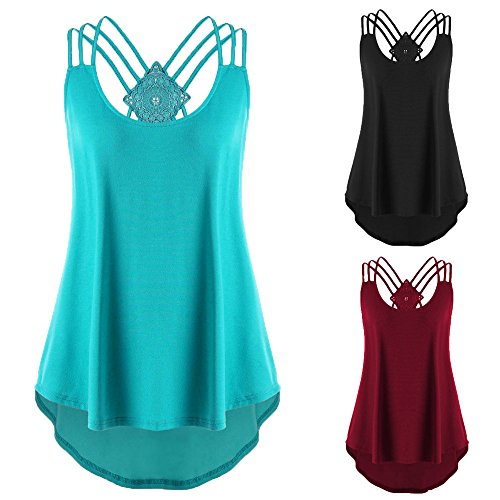 DAYLIN Clearance New Ladies' Bandages Hollow Out Sleeveless Vest Top High Low Tank Top Notes Strappy Tank Tops