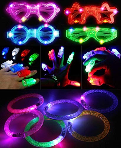 50Pcs LED Light Up Party Favor Toy Set Flashing Light Up Glow Toy LED Party Pack Flashing Led Finger Light  Led Glasses  LED Bubble Glow Bracelets for Event Favors  Raves  Birthdays  Concert Party