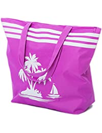 Beach Bag Womens Large Canvas Summer Tote Bags Palm Tree Pattern (Purple) By Airee Fairee