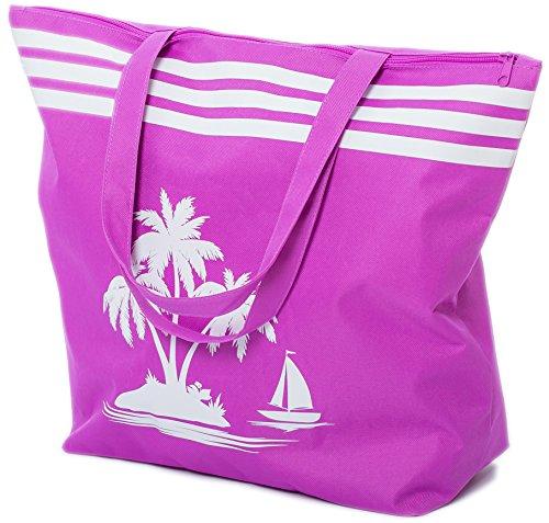 Airee Fairee Strandtasche Damen Schultertasche Shopper Sommer TascheVerschluss Reißverschluss Größe 50 x 40 x 16 cm Palme-Muster (Lila)