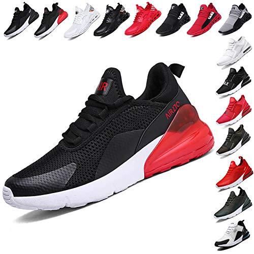 LINGTEU Herren Turnschuhe Sportschuhe Laufschuhe Straßenlaufschuhe Sneaker Leichtgewichts Freizeit Atmungsaktive für Running Fitness Gym Outdoor Black red 42