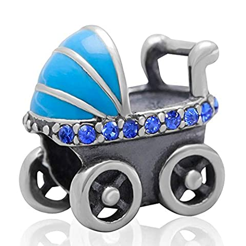 Soulbead Baby Carriage with Sapphire Crystal Charm in 925 Sterling Silver for Snake Chain Bracelet