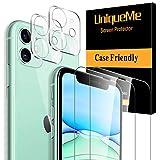 [2 Pezzi]UniqueMe Pellicola Fotocamera per iPhone 11 (6,1 Pollici) e [2 Pezzi] Vetro Temperato per iPhone 11 (6,1 Pollici) Pellicola Protettiva [Protezione Completa]