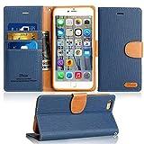 Coque iPhone 6 / 6S Housse, IPHOX Etui en Cuir Portefeuille de Protection, Emplacements Cartes avec Fonction Support et pour iPhone 6 / 6S , Bleu / J