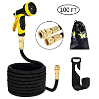 olyee Garden Hose Expandable Hose Pipe Strongest Double Latex Inner Tube Magic Hose Pipe with Solid Brass Fittings & 10 Function Spray Gun 100FT