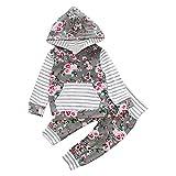 URSING Kleinkind süß Sport Kleidung setzen mädchen Florale Kapuzenpulli drucken Pullover Hemd vermummte Bluse weich gestreifte Oberteile + Outdoor krabbelhose Latzhose Jogginghose Outfits (80, Gray)