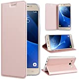 SmartLegend Coque pour Samsung J5 2016 , Samsung SM - J510 Etui,élégance Folio Housse en Cuir Pour Samsung Galaxy J5 2016 PU Vintage Relief Fonction Support TPU Cover Flip Case Protection Anti Shock - Rose Gold - Samsung Galaxy J5 2016