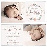 80 x Geburtskarten Babykarten individuell Fotos Text selbst gestalten Mädchen Junge Baby - Blumenkranz