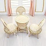 DASENLIN Natürlicher handgemachte Rattan Stuhl, kleiner runder Stuhl, älterer Freizeit zu Hause Rohrstuhl drei Stück, vier Sätze von Rattan Tischen und Stühlen
