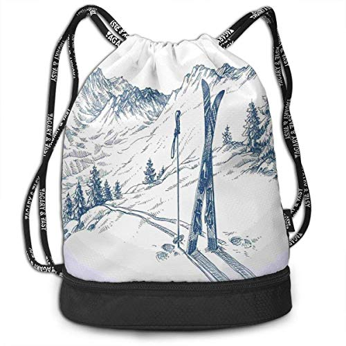 RAINNY Ski Elements in Snow Partying Drawstring Bag Backpack Bundle Backpack