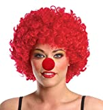 nonecho Damen-Halloween-Kostüm Harlequin Clown Outfit Kit, Clown Perücke, Clown Nase -  rot -