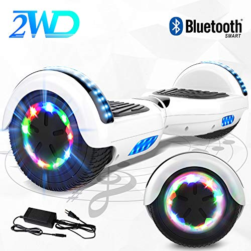 """2WD Hoverboard 6.5'' ElektroScooter Rad-selbstausgleichender Roller Zwei mit Bluetooth LED-Licht-elektrischem Roller 6.5""""- UL bestätigte 2 * 350W (Weiß-01)"""