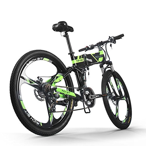 51Z8kHeAAWL. SS500  - RICH BIT Electric Folding Mountain Bike Mens Bicycle MTB RT860 12.8Ah Lithium-ion battery 7 Levels PAS speed LCD Display High Function Speedometer 50-60 Cycling Range Dual Susepension Black-Green