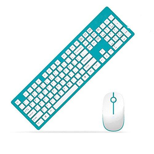 Sundy G95002,4G Kombi-Set aus kabelloser Tastatur und Maus, Quiet Click mit Nano-USB-Empfänger und Schutzhülle für Desktop-PC/Laptop blau blau 500x140x25mm