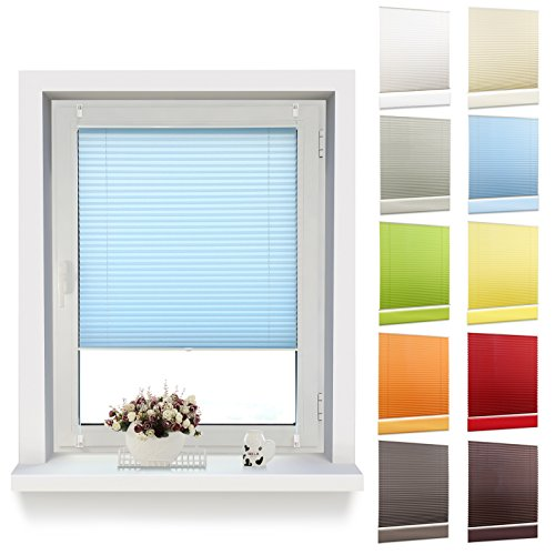 Price comparison product image Oubo Pleated Blind with 'Klemmfix' clamps (no drilling required),  privacy shield clamp brackets for windows,  Fabric,  blue,  55 x 120 cm