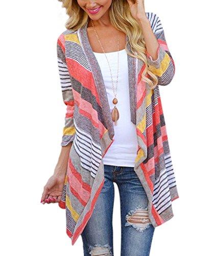 Preisvergleich Produktbild Thriving Prosperous Unregelmäßiger Hem Kimono Strickjacke Streifenmantel mit 3/4 Ärmel für Damen