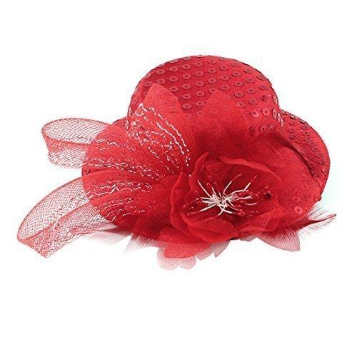 Mujer Cóctel Flor Detalle De Lentejuelas Mini Sombrero De Copa Clip Para Pelo Rojo
