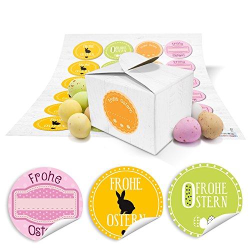 24 kleine weiße Geschenkboxen Ostern Geschenkverpackung Geschenkschachteln 8 x 6,5 x 5,5 + Aufkleber FROHE OSTERN rosa gelb grün orange Text als Alternative zum Osternest oder Osterkörbchen