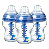 Tommee Tippee 422571 Decorated 0m+ Anti-Colic Natural Breast Feeding Bottle Bpa Free ,260ml ,9oz - Pack of 3