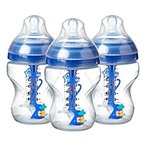 Tommee Tippee Decorated Advanced Anti-Colic Baby Bottles, 260 ml, 3 count