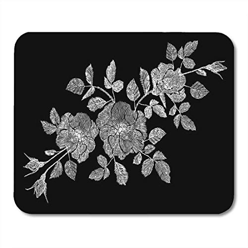 Deglogse Gaming-Mauspad-Matte, Floral Flower White Rose Wildflower Dogrose Briar Patch Mouse Pad, Desktop Computers mats - Briar Rose Floral