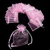 JZK 50 x Rosa 9x12cm sacchetti sacchettini riso portariso portaconfetti bomboniere organza per matrimonio compleanno battesimo comunione nascita festa Natale, sacchettino sacchetto coulisse porta confetti riso regalo regalino