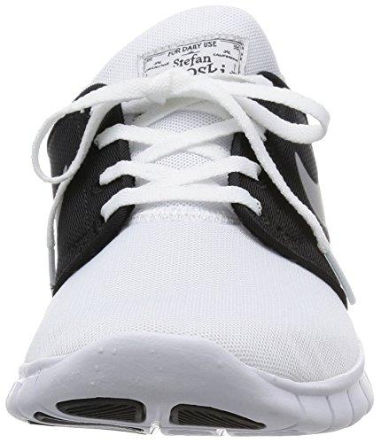 Nike Stefan Janoski Max - Baskets Basses Sport Unisexes - Blanc Adulte / Argent Métallisé-noir