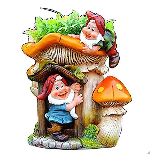 Design XL Zwerg mit Blumentopf 91187-1 29 cm Hoch Deko Garten Gartenzwerg Figuren Dekoration
