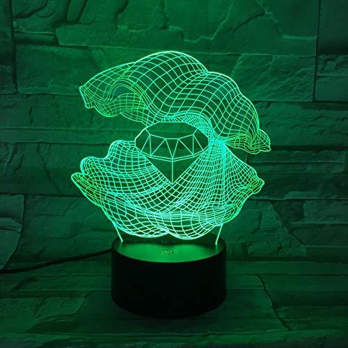 Nachtlicht Mutter Der Perle 3D Nachtlicht Led 7 Farben Ändern Shell Schreibtisch Tisch Lampe Einrichtung Diamant Form Lampe Als Home Decor Geschenk