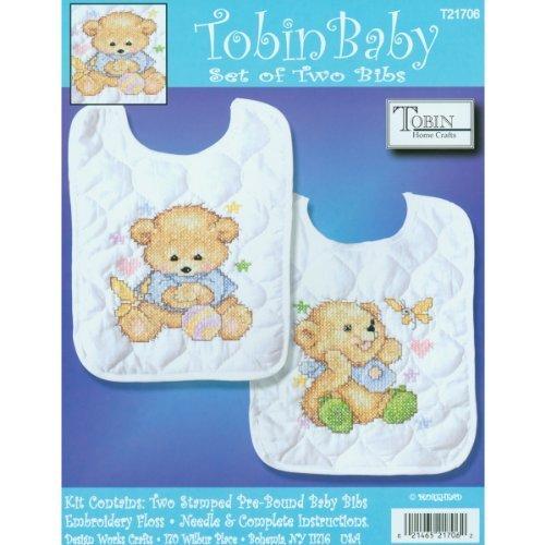 Tobin Baby Bears Bib Pair Stamped Cross Stitch Kit, 8 by 10-Inch, Set of 2 by Tobin